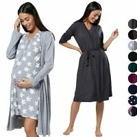 HAPPY MAMA Women's Maternity Hospital Bag Set Delivery Nightie & Robe 1009