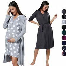 HAPPY MAMA Women's Maternity Hospital Bag Set Delivery Nightie & Robe 1009