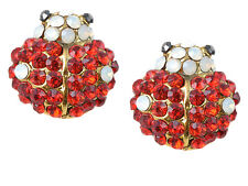 Petite Golden Tone Ruby Red Crystal Rhinestone Cute Lady Bug Button Earrings