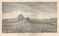 A5721 Catena dei Puys vista dal Mont Dore - Xilografia Antica 1895 - Engraving