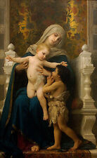Oil painting Bouguereau The Virgin, Baby Jesus and Saint John the Baptist canvas