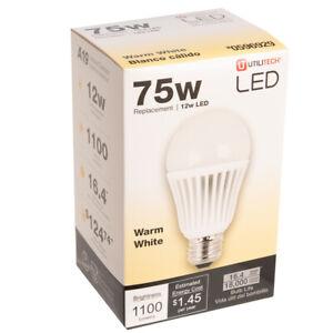 LED Light Bulb 12 Watt 75 Watt Equivalent A19 Plastic Warm White Light Bulb