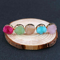 Raw Natural Round Color Crystal Multi Stud Druzy Ear Earrings Resin Stone Quartz