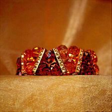 40s Vintage Austrian Amber Colored Glass Crystal Rhinestone Bracelet 14K GP
