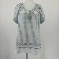 Joie Top Short Sleeve Peasant Blouse Silk Light Blue Tassels V Neck Size Small