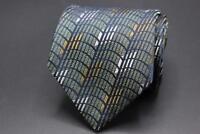 CHARVET Place Vendome France Silk Tie. Blue Green w Silver & Brown Geometric.