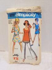Vintage Simplicity #8259 Size 12 Petite MINI Dress Bell-bottom pattern 1969