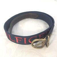 Tommy Hilfiger Mens Navy Brown Woven Textile Fashion Casual Belt Leather Size 38