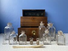 Early Victorian Mahogany Apothecary Box with Assortment of Glass Bottles