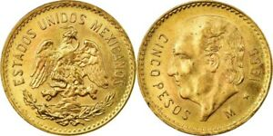 1955 MEXICO GOLD 5 PESOS HIDALGO .9000 GOLD .1206 AGW BRILLIANT UNC. LUSTER