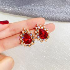 Fashion New Retro Palace Red Rhinestone Earrings Pearl Drop Earrings Stud Women