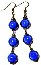 Very Long Bronze Blue Miracle Bead Earrings Drop Dangle Antique Vintage Style