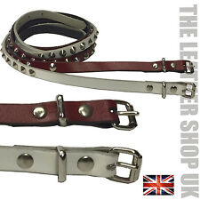 12MM Conical Studded Mix Colour Real Leather Belt Handmade In UK