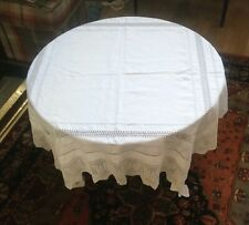 Hand Made Drawn Thread and Crochet Linen Tablecloth