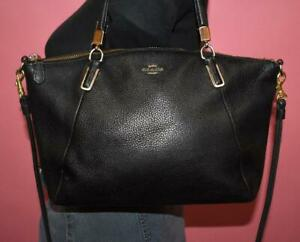 "COACH ""KELSEY"" Black Pebbled Leather Crossbody Shoulder Hand Purse Bag Zip 33733"