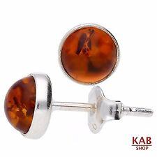 BALTIC AMBER GEMSTONE & STERLING SILVER 925 STUD 5 mm EARRINGS. KAB-3  B