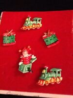 Vintage Set Of 5 JJ Enamel Pins In Red And Green Of Toy Trains, Jack In The Box