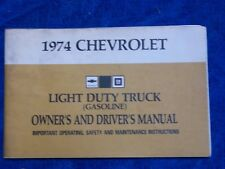 ORIGINAL 1974 Chevrolet CHEVY PICKUP LIGHT DUTY TRUCK Owners Manual