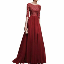 Women Ball Prom Gown Long Cocktail Dress Formal Wedding Bridesmaid Red M