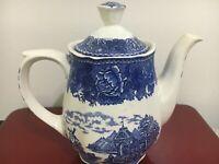Vintage Anfora Pottery Hecho-en Mexico White Blue Tea Pot Hand Painted Art