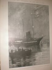King Edward VII convalescence Night Scene Royal yacht Cowes 1902 print ref AW
