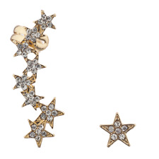 Lux Accessories Gold Tone Pave Stone Edgy Star Ear Celestial Crawler Ear Cuff