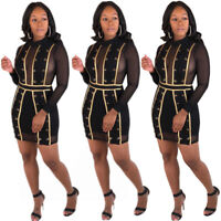 Women Long Sleeves Mesh Patchwork Sheer Bodycon Club Party Black Mini Dress