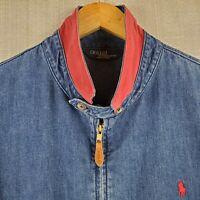 POLO RALPH LAUREN Size XL Mens USA Made Denim Jean Bomber Jacket Coat Pony Logo