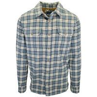 prAna Men's Cadet Blue Cream Plaid L/S Flannel Shirt (S05)