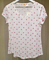 C&C California 100% linen cap sleeve top size xs white with watermelon design