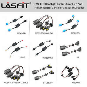 2x EMC LED Headlight Bulb Canbus Resistor Decoder Blinking Flashing Error Cancel