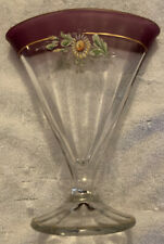 Vintage Purple & Clear Glass Hand-Painted Fan Shaped Vase Gold Accents Daisy
