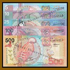 Suriname 5 10 25 100 500 Gulden 5 Pcs Set, 2000 P-146/147/148/149/150 Unc