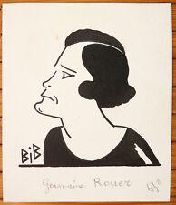Dessin original de Georges BREITEL dit BIB portrait comédienne Germaine ROUER