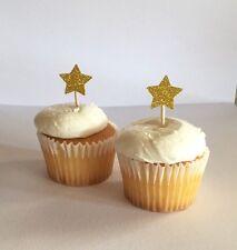 Twinkle Twinkle Little Star -- Gold glitter Star Cupcake Toppers (single sided)