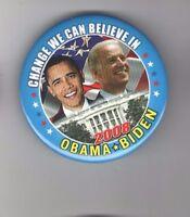 CHANGE We Can Believe In Barack OBAMA pin 2008 Campaign pinback 3 inch Joe BIDEN
