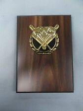 Baseball Theme snap gold and black relief walnut finish plaque trophy 5x7