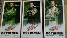 2016 Mountain Dew Set of 3 Dewcision hero postcards Dale jr, Chase, Kasey