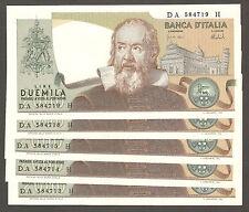 1x 2.000 GALILEO FDS ASSOLUTO 08/10/1973 UNC 2000 lire Italy GALILEI consecutive