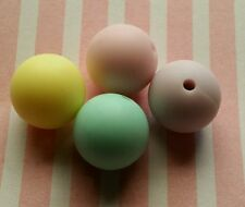 Loose Silicone Beads, X10 15mm, PASTEL colours lead free non toxic diy crafts