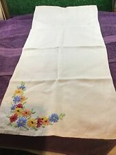More details for embroidered irish linen table runner vintage retro collectable table linen
