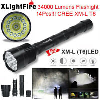XLightFire  34000 Lumens 14x XML T6 5 Mode 18650 Super Bright LED Flashlight