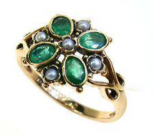 9ct 9k Solid Gold Art Deco Vintage Emerald & Pearl Flower Ring R392 Custom