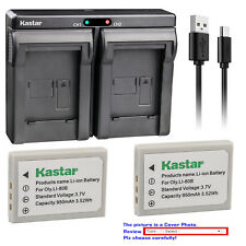 Kastar Battery Dual Charger for Olympus Li-80B Battery Olympus Li-80C Charger