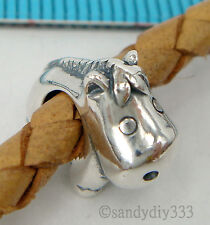 1x OXIDIZED STERLING SILVER Cute Hippo Horse EUROPEAN BRACELET CHARM BEAD #2011