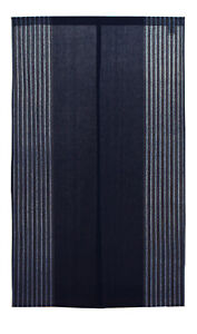 "Japanese Noren Curtain Home Business 60"" x 33.5"" Navy Indigo Stripe JAPAN MADE"
