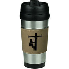 Leather & Stainless Steel Insulated Travel Mug Lineman Electric Pole Climber