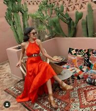 ZARA RED FLOWING HALTERNECK LONG/MAXI RUFFLE HEM DRESS BNWT SIZE M