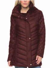 Women's Marc New York Andrew Marc Quilted Walker Hooded Jacket Coat, Wine, XL