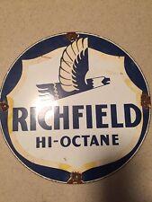"VINTAGE RICHFIELD HI-OCTANE GASOLIN 11 3/4"" PORCELAIN GAS & OIL SIGN! PUMP PLATE"